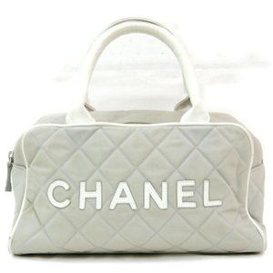 Auth Chanel Gray Canvas Hand Bag Satchel #3267C25